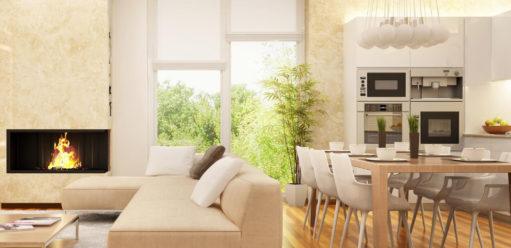 Salon otwarty nakuchnię – jakie osłony okienne wybrać?