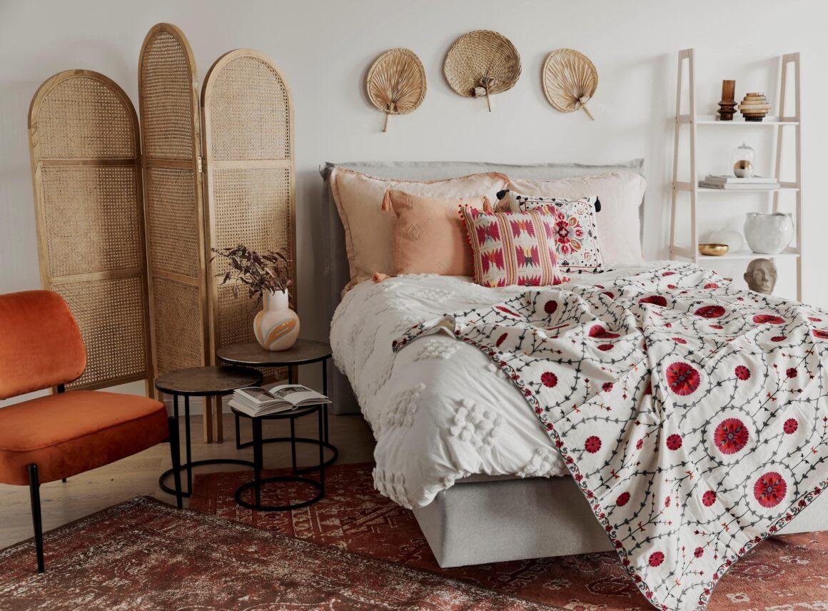 Trzy odsłony sypialni wstylu boho