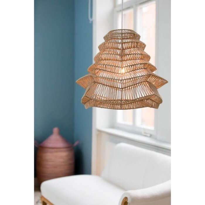 naturalna wisząca wiklinowa lampa