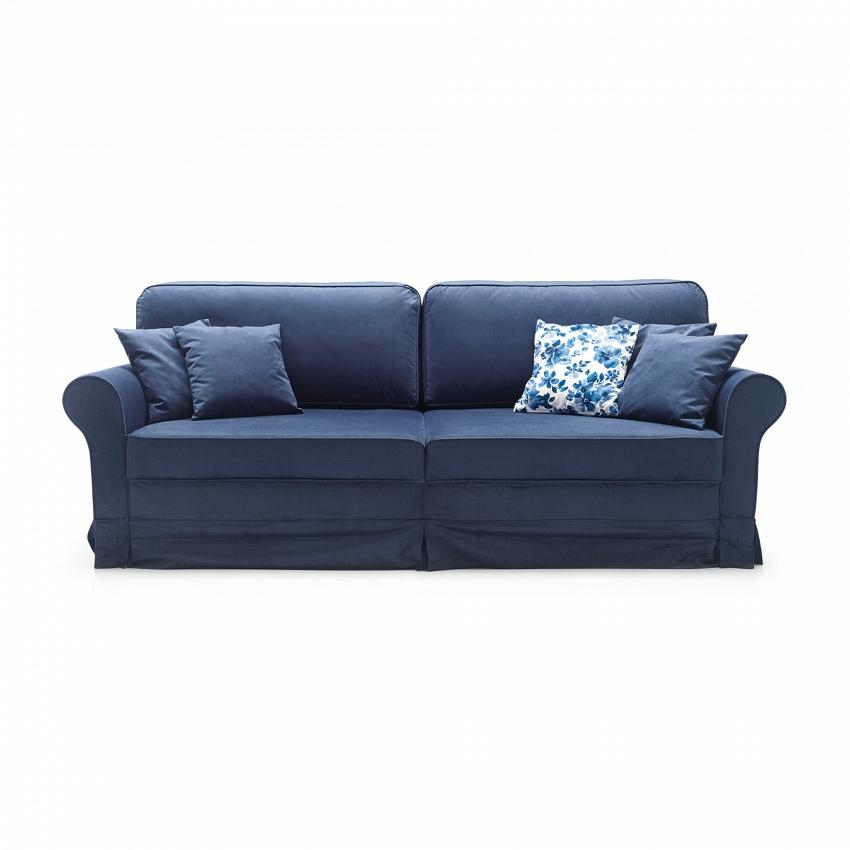 granatowa sofa ooryginalnym wyglądzie