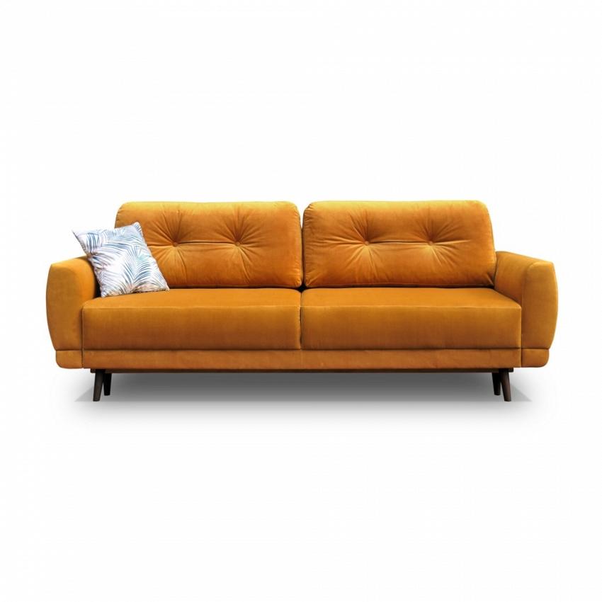 pomarańczowa sofa pikowana