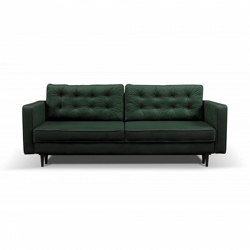 zielona sofa pikowana zpodparciem