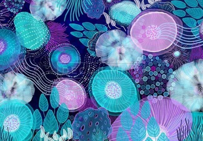 Fototapety naścianę - meduzy wneonowych kolorach